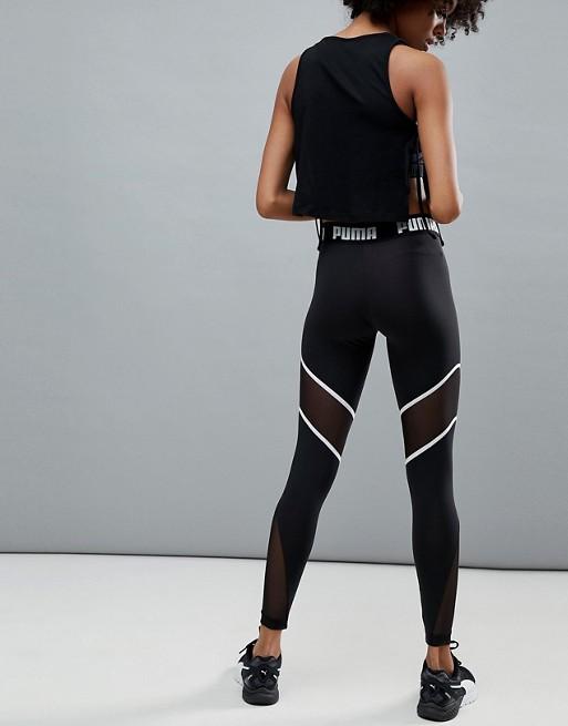 Leggings negros con panel de malla exclusivos en ASOS de Puma