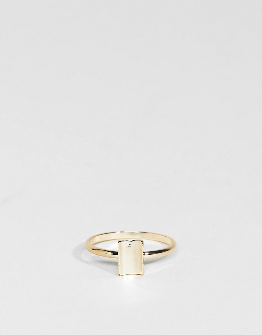 Limited Edition Pack of 2 Open Circle and Curved Square Rings - Gold Asos
