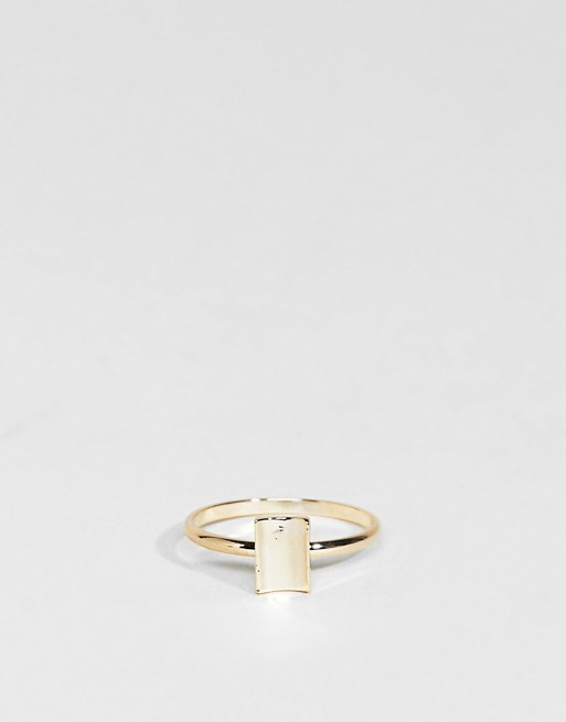 Limited Edition Pack of 2 Open Circle and Curved Square Rings - Gold Asos RJrTpv
