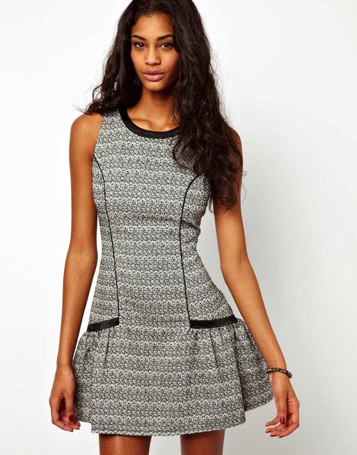 Image 1 of Lipsy Drop Waist Tweed Dress