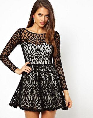 Image 1 of Lipsy Lace Skater Dress