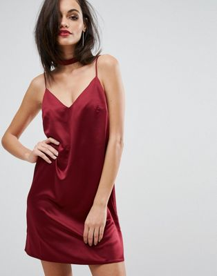 Image 1 of Lipsy Satin Cami Slip Dress With Choker Detail