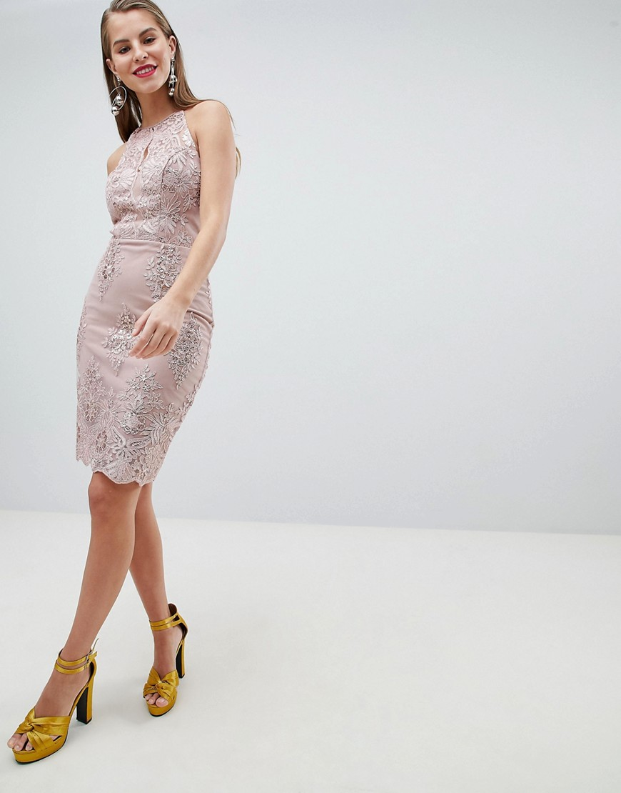 Lipsy Sequin Lace Bodycon Midi Dress by Lipsy
