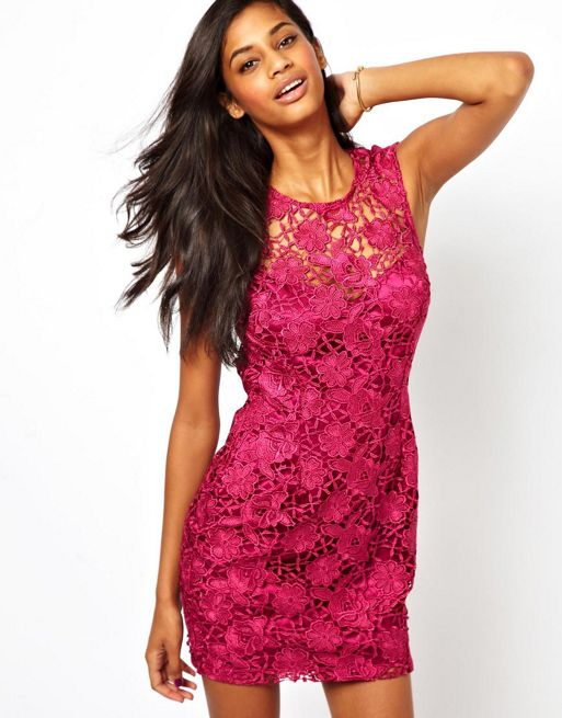 Image 1 of Lipsy Shift Dress in Waxed Lace