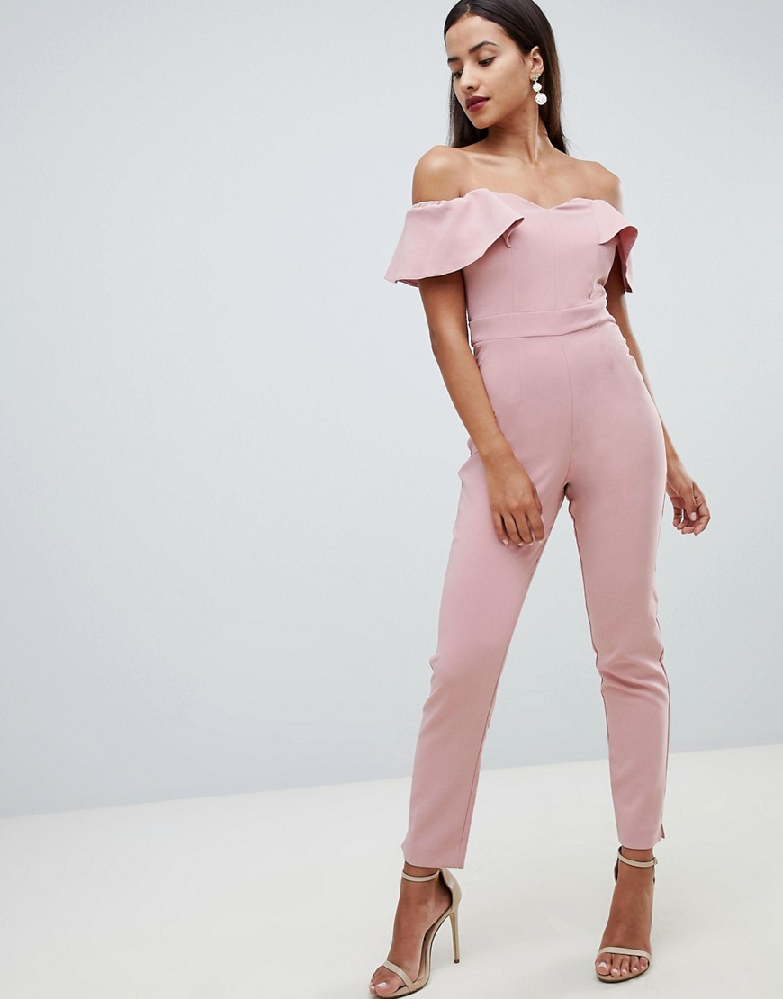 Lipsy Sweetheart Bandeau Jumpsuit With Tie Waist In Nude by Lipsy