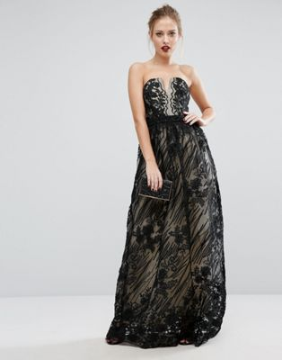 Image 1 of Little Mistress Contrasting Lace Maxi Dress