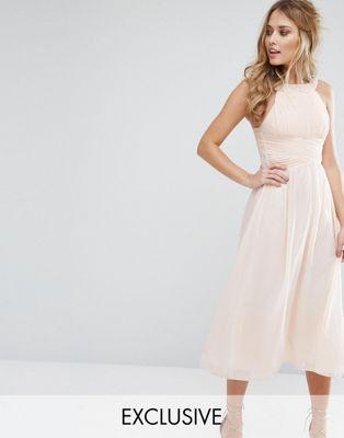 Image 1 of Little Mistress Embellished Empire Midi Dress with Chiffon Skirt