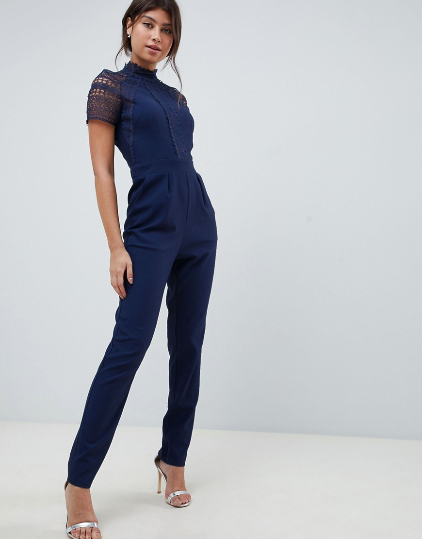 Little Mistress Lace Detail Jumpsuit by Little Mistress