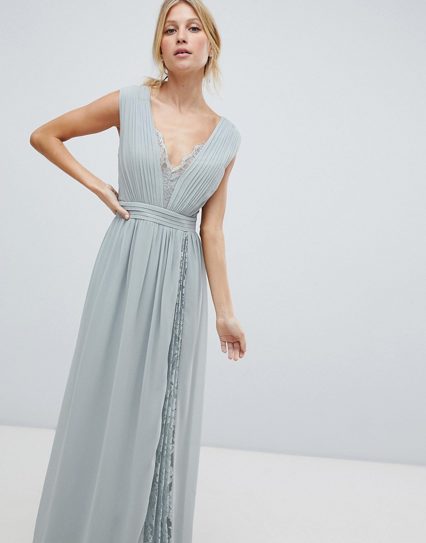 Little Mistress Maxi Dress With Lace Inserts by Little Mistress
