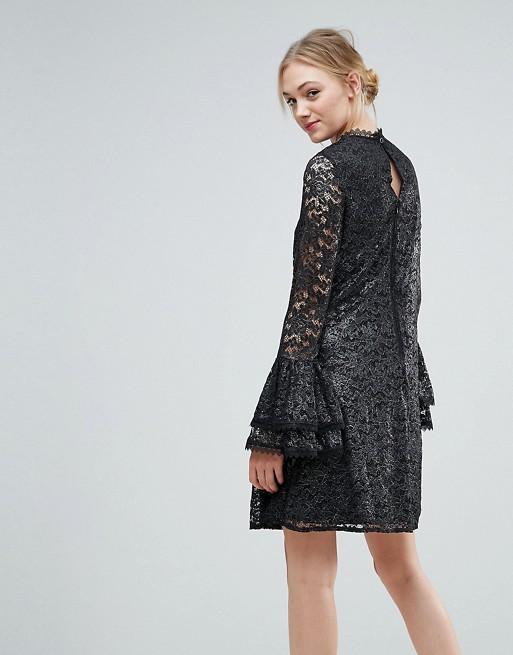 Detail Cutwork Fluted Mistress Dress Swing Tall Metallic Sleeve With Lace Little Little Tall Mistress OYZZSwq