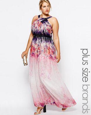 Image 1 of Little Mistress Watercolour Print Maxi Dress