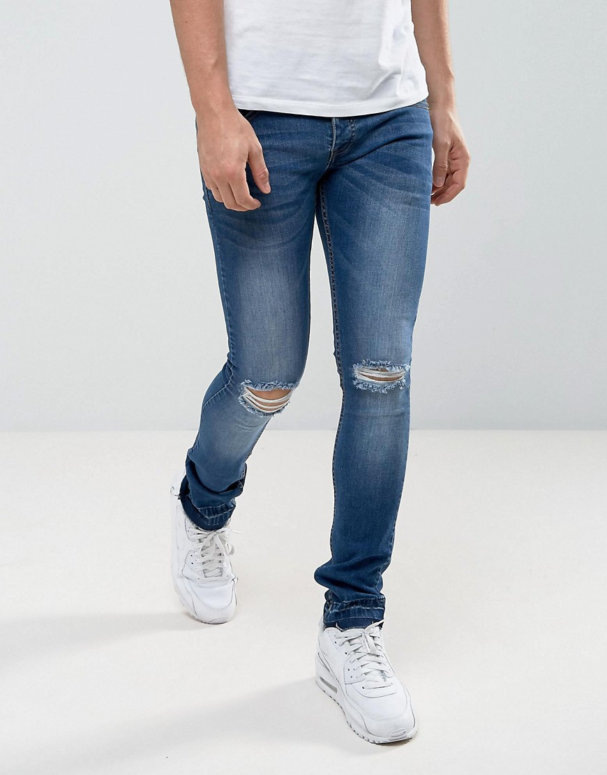 Loyalty and Faith Manchester Skinny Jean with Unrolled Hem in Mid Wash - Blue Loyalty & Faith