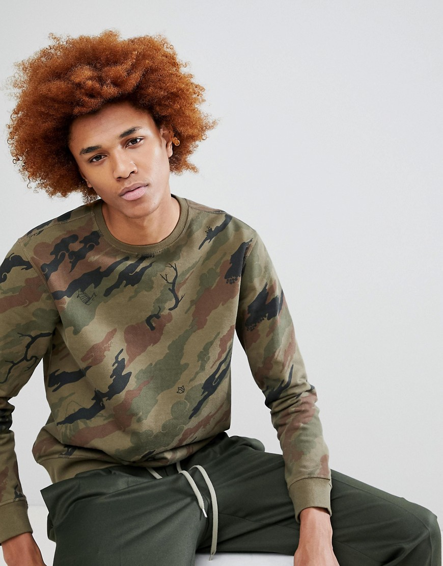 Camo Tiger Back Embroidered Crew Neck Sweatshirt - Brown maharishi