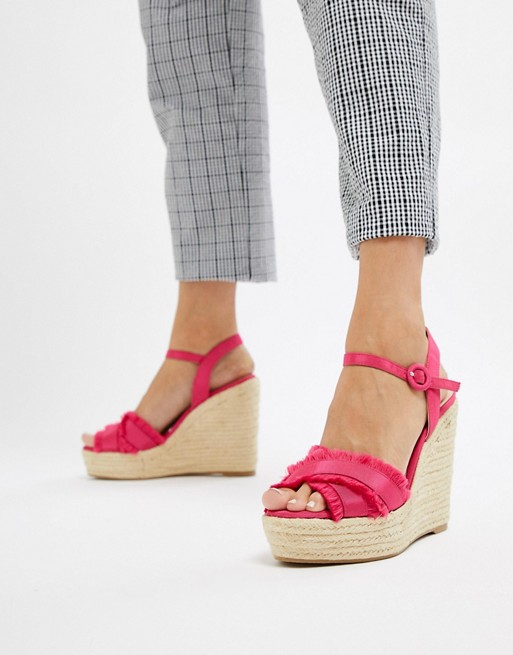 detail wedge Mango fray in espadrille pink w5vPaFq