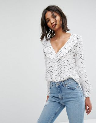 Image 1 of Mango Polka Dot Ruffle Blouse