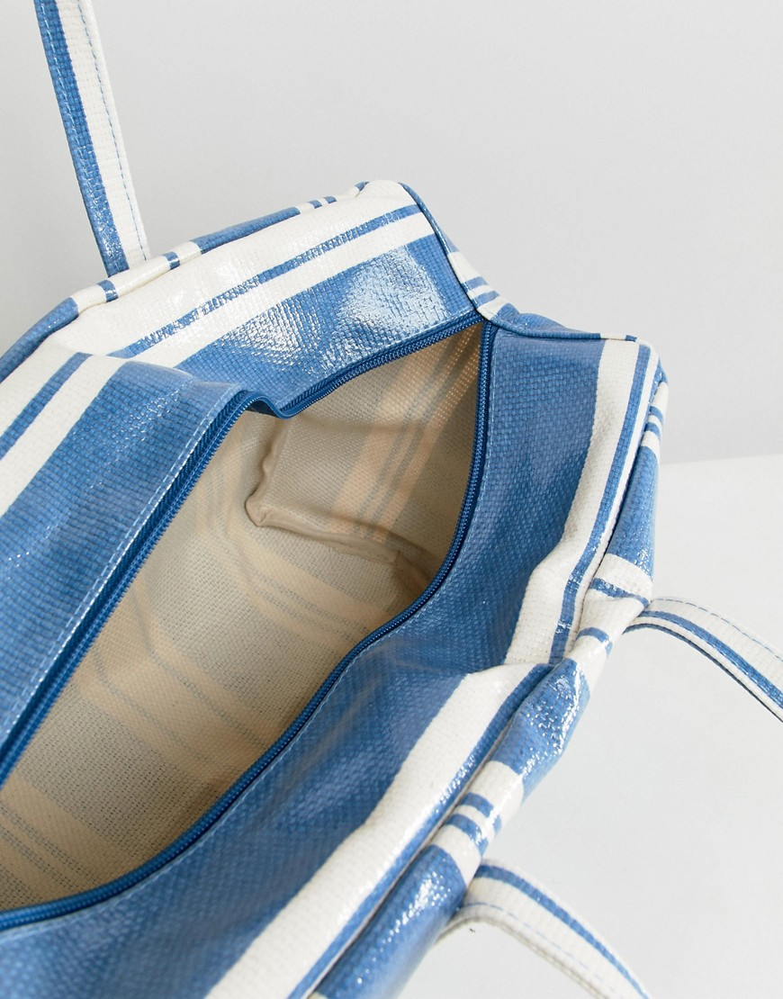 Mango Stripe Plastic Tote In Blue Multi by Mango
