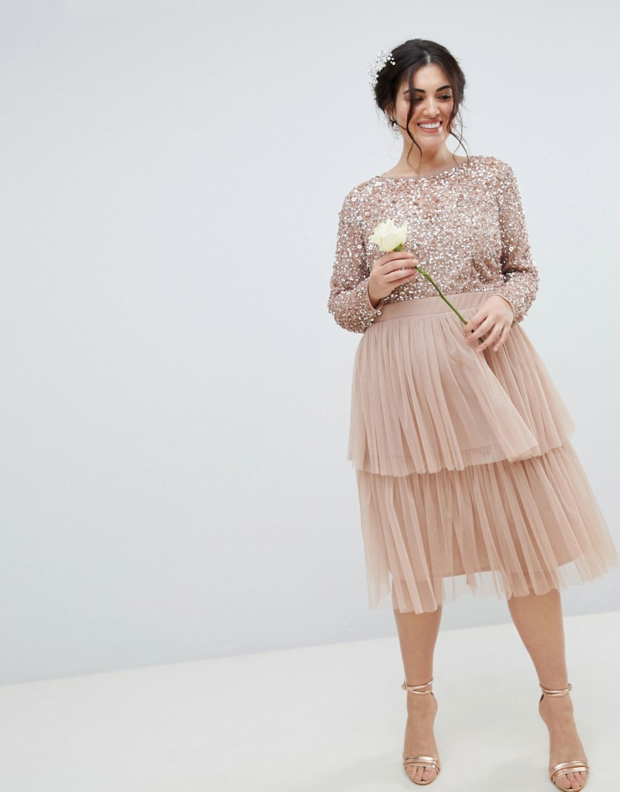 Maya Plus Long Sleeve Sequin Top Midi Dress With Tiered Tulle Skirt by Maya Plus