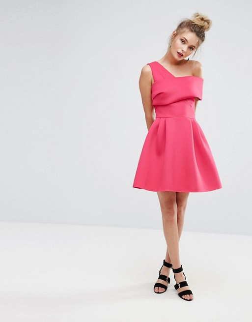 Limited Cross Front Bardot Scuba Prom Dress - Pink Miss Selfridge Discount Exclusive Ch11uQvV