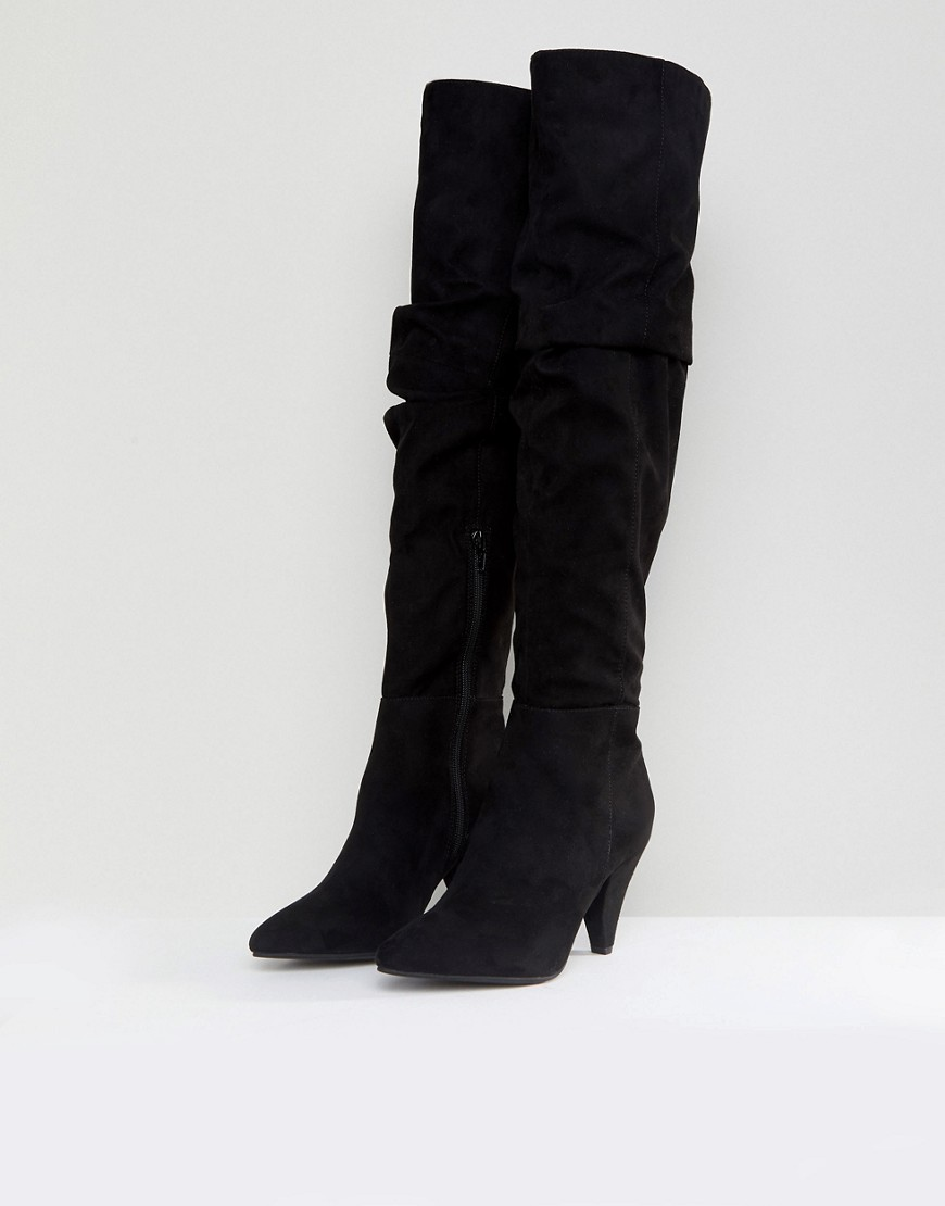 Over The Knee Ruched Boot - Black Miss Selfridge