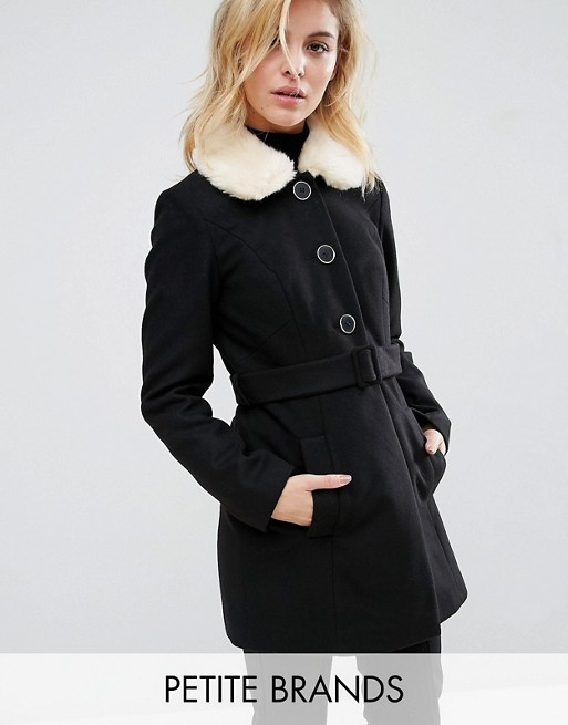 Miss Selfridge Petite | Miss Selfridge Petite Faux Fur Collar Tie Coat
