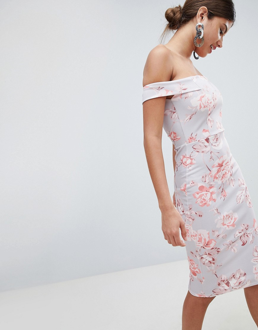 Missguided Bardot Floral Midi Dress by Missguided