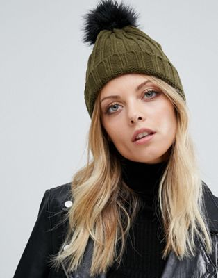 Image 1 of Missguided Contrast Faux Fur Pom Pom Beanie