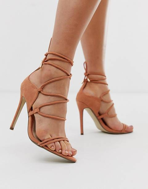 Missguided lace up barely there heeled sandals in nude