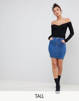 Image 1 of Missguided Tall Denim Mini Skirt