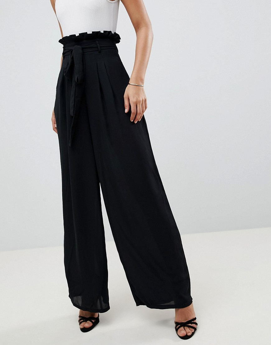 Missguided Tall Paper Waist Wide Leg Trousers by Missguided Tall