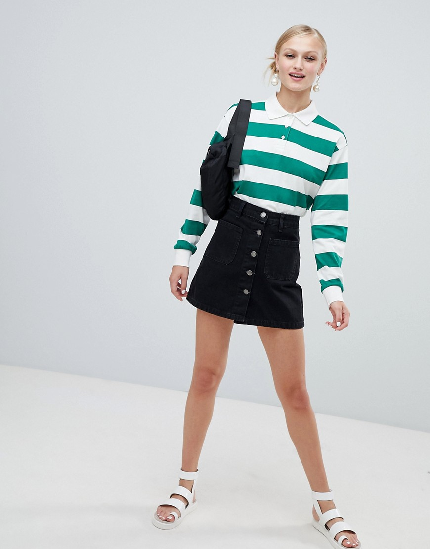 Monki Cropped Stripe Rugby Shirt by Monki