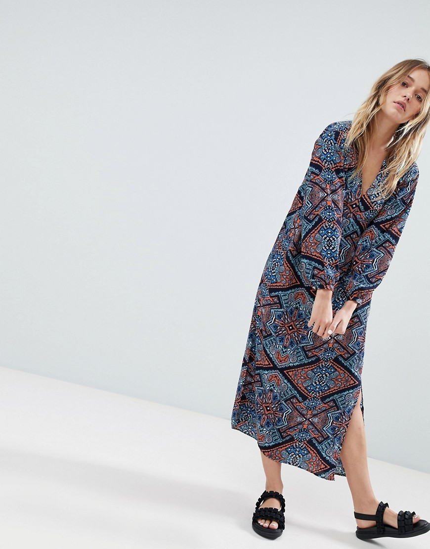 Monki Long Sleeve Printed Midi Dress by Monki