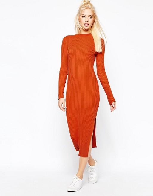 Home; Monki Ribbed Midi Dress. image.AlternateText