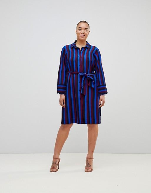 Sortie À La Recherche De Monki - Monki - Robe chemise à rayures avec lien à nouer sur le devant Choix Pas Cher Acheter En Vente En Ligne MVXbU