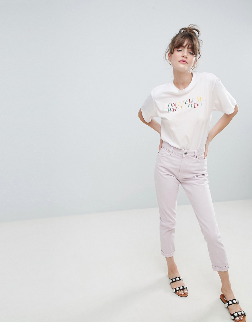Monki Slogan Oversized Crew Neck T Shirt In White by Monki
