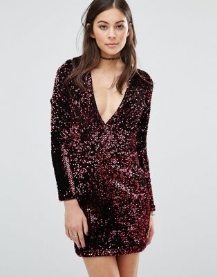 Image 1 of Motel Meli Bodycon Dress In Sequin With Plunge Neck