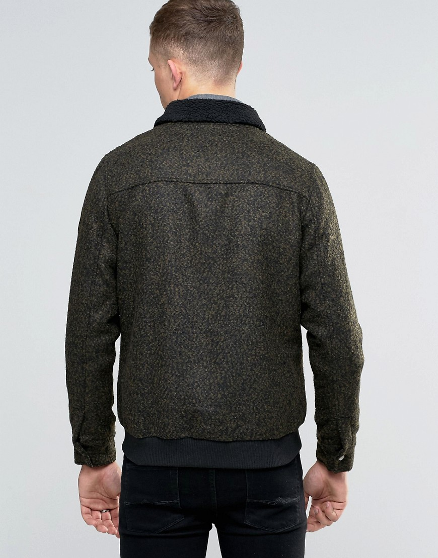 Native Youth | Native Youth Bord Collar Wool-Mix Flight Jacket