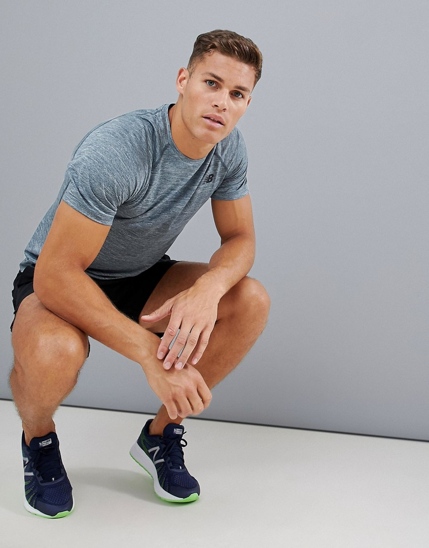 New Balance Running Tenacity Heathered T Shirt In Petrol Blue by New Balance