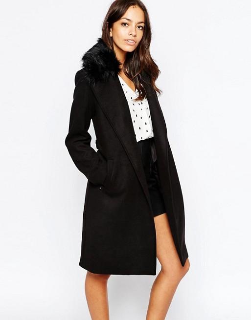 New Look | New Look Faux Fur Collar Wrap Coat