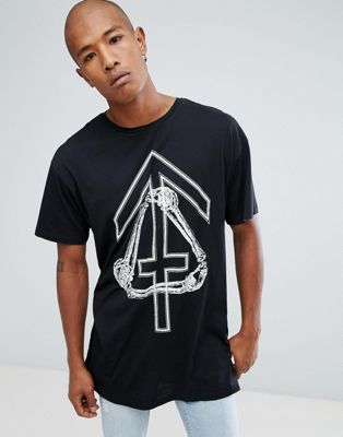 Image 1 of New Look Longline T-Shirt With Bones Print In Black