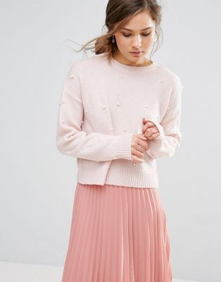 Image 1 of New Look Pearl Embellished Jumper