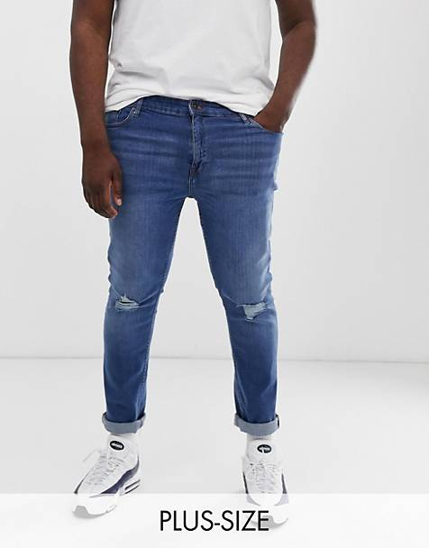 New Look Plus skinny jeans with busted jeans in blue wash