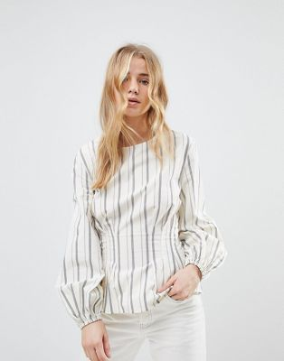 Image 1 of New Look Stripe Cotton Puff Sleeve Top