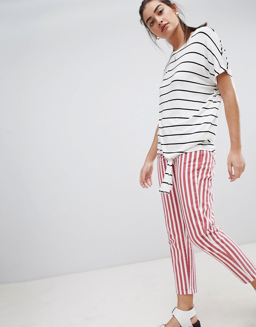 New Look Stripe Tie Side T Shirt by New Look