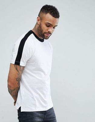 Image 1 of New Look T-Shirt With Side Stripe In White