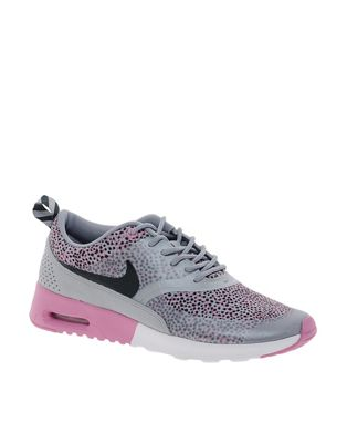 Image 1 of Nike Air Max Thea Grey/Pink Print Trainers