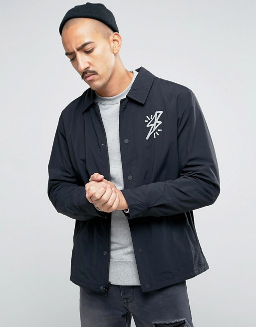 Home; Nike SB Coach Jacket With Bolt Logo In Black In Black 823588-010.  image.AlternateText