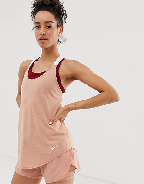 Nike Training Elastika Tank In Rose Gold