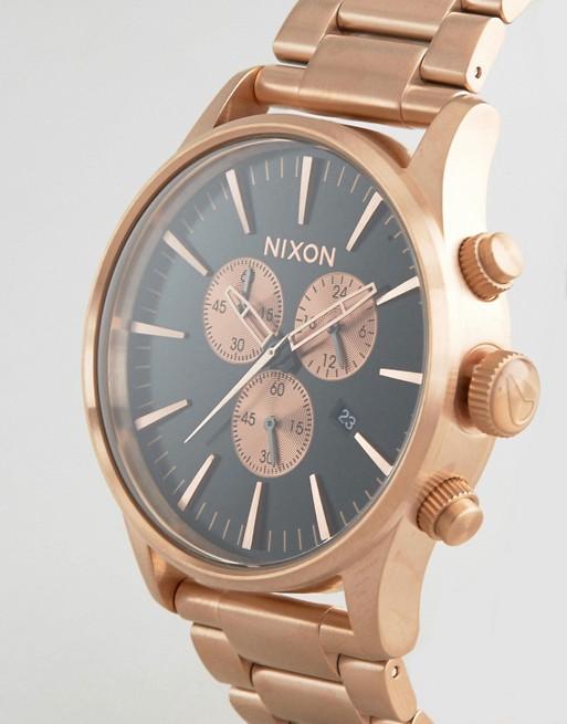 Nixon - Montre chronographe - Or rose