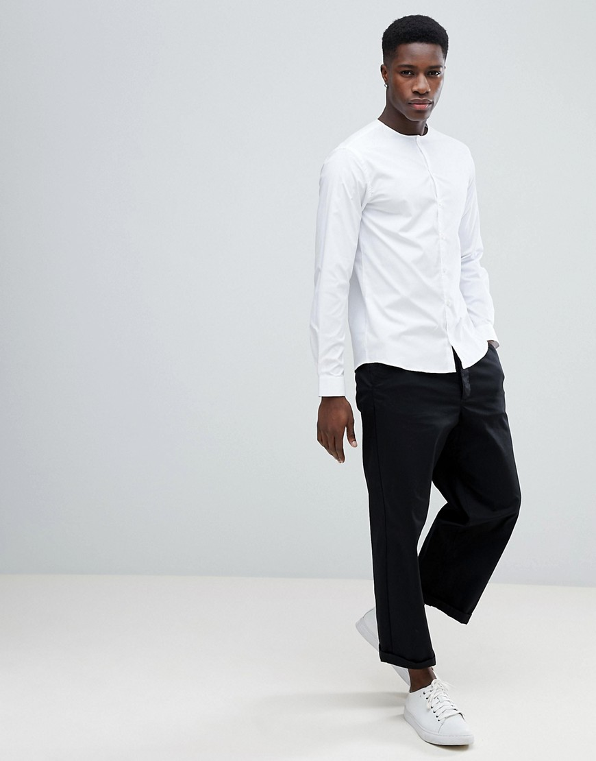 Noak Skinny Collarless Shirt by Noak