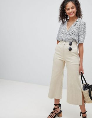 Image 1 of Nobody's Child twill cropped wide leg pants